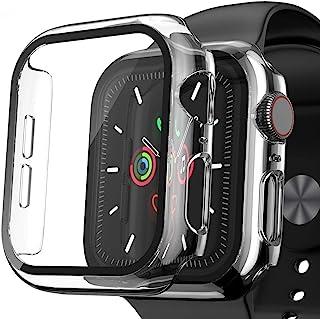 [2 件裝] 手表外殼兼容 Apple Watch 系列 6 / SE / 5 / 4 40 毫米鋼化玻璃屏幕保護膜,EWUONU 超薄保險杠全覆蓋 iWatch 配件保護手表蓋