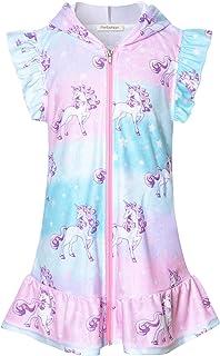 Perfashion 泳装罩衫女童毛圈游泳罩衫 Ups 连帽儿童拉链罩衫