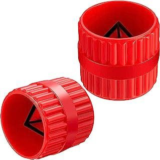 2 件红色内外铰刀管和管毛刺铰刀管倒角工具适用于 PVC/PPR/铜/黄铜/铝管(1.91 厘米至 3.51 厘米)