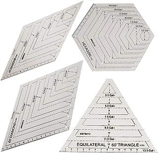 绗缝尺套装,4 件透明塑料绗缝方形模板,三角形,六边形,三角形尺和六边形尺子,45 度和 60 度尺子,拼接缝纫工艺配件