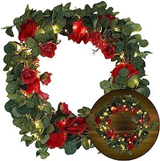 装饰花环发光人造花人造绿叶复古艺术模拟玫瑰手工花环(40.64 厘米,100LED )家庭派对婚礼户外窗户装饰红色花前门花卉门