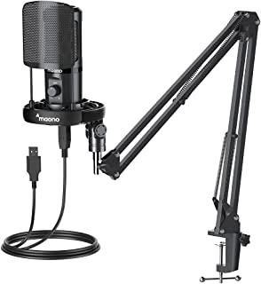 USB 麦克风,一体式套件,带增益 PoP 过滤器减震支架,MAONO 专业电容电脑麦克风,用于播客、游戏、录音、流媒体、YouTube、PC、笔记本电脑、AU-PM461S