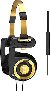 Koss Porta Pro 限量版黑色金色头戴式耳机,内嵌式麦克风,音量控制和触摸遥控器,包括硬质手提盒,3.5 毫米插头有线,黑色和金色