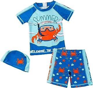 男婴 2 件套泳装套装 男童泳衣*衣 带帽子 UPF 50+ FBA