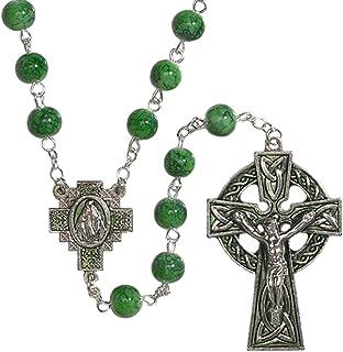 CB 凯尔特绿珠念珠 印有奇迹的勋章中心饰物和十字架和圣帕特里克爱尔兰祝福祈祷卡