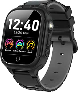 男孩女孩儿童智能手表 - 高清触摸屏手表 14 种游戏双摄像头音乐播放器视频计步器手电筒儿童学习玩具生日礼物适合 4-12 岁(黑色)