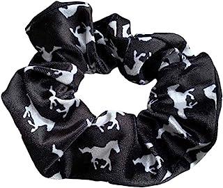 Sportybella Horse Scrunchie,马头*配件,优质天鹅绒无折痕马发弹性,马术用