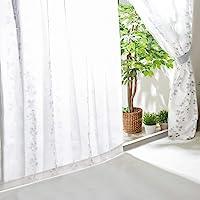共 30 种 蕾丝窗帘 防紫外线 从外面看不清室内 隔热 可清洗 节能 2 片装 叶子 幅100cm×丈118cm×2枚…