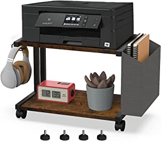 VEDECASA 2 层乡村木制桌面打印机支架,带储物袋挂钩,适用于家庭办公室书桌架收纳架,多功能农舍书桌打印机架,带可调节防滑垫