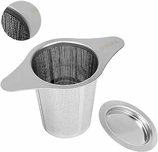 JEXCULL 不锈钢冲茶器,配有两个手柄和大容量用于散茶叶的经典金属网眼茶滤网,适用于杯子、马克杯、茶壶