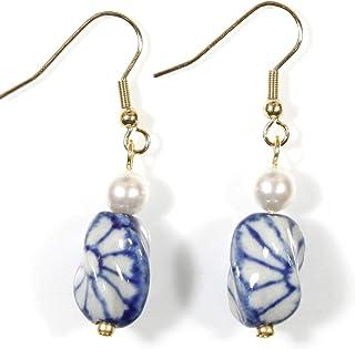 Style ARThouse 蓝色扭曲耳环带施华洛世奇玻璃珍珠,金色调
