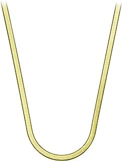 ABONDEVER 14K 弹性扁平人字纹蛇形链颈链项链朋克镀纯色圆形可爱精致珠宝