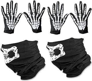 WYSUMMER 骷髅面具和白色骨架手套骨头巴拉克拉瓦圣诞幽灵手套成人男士女士万圣节舞蹈派对
