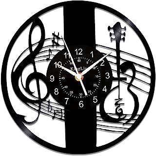 音乐挂钟 Kinglive,经典乙烯基唱片音乐笔记装饰,音乐家礼品套装创意音乐迷 12 英寸(约 30.5 厘米)Lp 时钟黑色