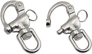 JSM 2 件旋转眼扣快卸扣船帆船海洋不锈钢夹对(2-3/4 英寸