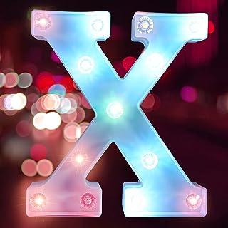 彩色字母灯 LED 字母灯 适用于酒吧、钻孔灯珠派对、字母灯照明(电池供电)(字母 X)