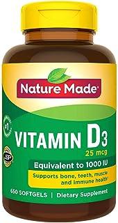 Nature Made 维生素 D3 1000 iu,大码,650 粒软胶囊