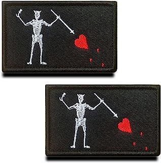 Zcketo 2 件战术黑胡子海盗红心军事刺绣贴花钩和环扣 USMC 旗帜补丁徽章