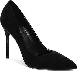 LEHOOR 女式经典尖头高跟高跟鞋性感细高跟 4 英寸(约 10.2 厘米)麂皮一脚蹬礼服鞋适合女士新娘婚礼派对晚会 4-10 码美国