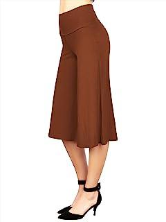 由 Johnny 女士高弹性腰带阔腿阔腿裤(S ~ 5XL 码), Wb876_锈色, 大