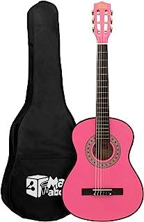 Mad About 古典吉他 MA-CG03 3/4 尺寸 粉红色经典吉他 - 彩色西班牙吉他 带提包、带子、拨片和备用琴弦,粉红色