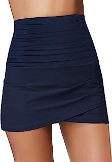 Uqnaivs 女式高腰游泳裙郁金香下摆抽褶比基尼泳裤