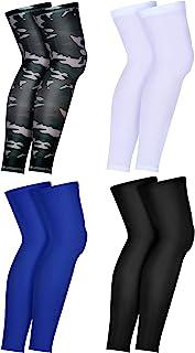 4 对压缩腿套 全长腿套 运动膝套 适合男女跑步篮球骑行