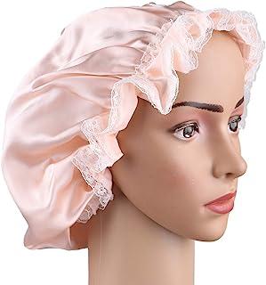 LEORX 缎面睡帽 蕾丝装饰 柔软丝绸 夜帽 可调节睡帽 女式 (粉色)