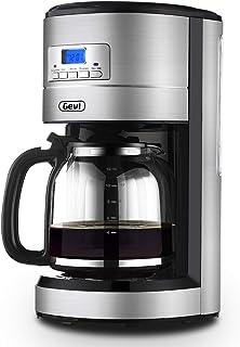 Gevi 12 杯咖啡壶,可编程滴滤咖啡机,自动启动和关闭,带过滤器和加热盘的咖啡壶,银色