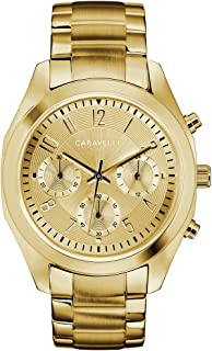 Caravelle 由 Bulova 设计女士石英手表不锈钢表带,金色,18.5 (型号:44L238)
