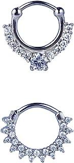 JUSTJANDM 2 件 16G 女士隔膜戒指,*钢隔膜扣环带钛棒,适合敏感肌肤,铰链式隔膜穿孔珠宝 10 毫米