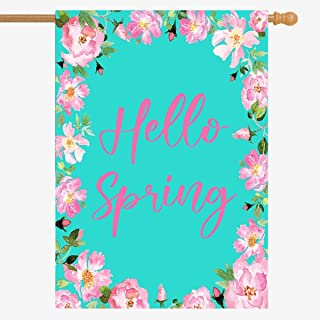 ZUEXT Hello Spring Wreath House Flag 71.12 x 101.6 厘米垂直双面粗麻布农舍水彩蓝色背景花卉院子旗帜假日派对周年纪念户外装饰乔迁礼物