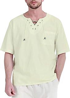 男式亚麻嬉皮衬衫短袖休闲夏季瑜伽沙滩上衣