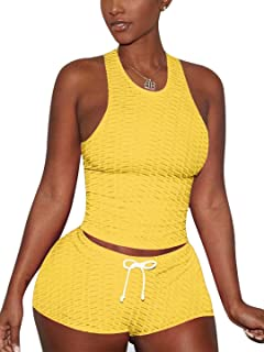 SUCCIOR 女式 2 件套套装工字背心瑜伽短裤紧身锻炼套装