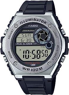 Casio 卡西欧 男式 重型数字 10 年电池石英树脂表带,黑色,25.7 休闲手表(型号:MWD-100H-1AVCF)