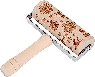 圣诞木擀面杖,压花滚轴针,带雪花图案,适用于翻糖饼干、糕点、儿童面团工艺
