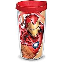 Tervis Marvel - 钢铁侠标志性隔热旅行杯带包装和红色盖子,16 盎司(约 453.6 克) - Trita…