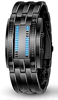 Pappi Boss 独特设计师时尚金属黑色链条 LED 手链数字手表男性,男式
