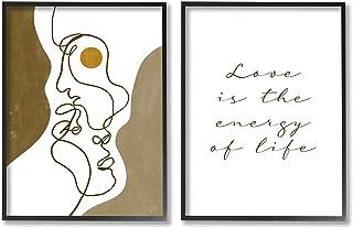 Stupell Industries Love is Energy Phrase Abstract Faces 情侣线条,Birch&Ink 黑色框架墙艺术,2 件,每件 24 x 30,棕色