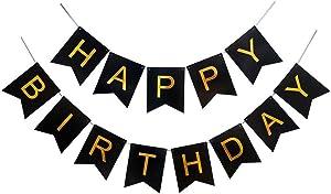 Qttier 生日快乐横幅 黑色和金色生日 睡袋时尚装饰品和派对用品