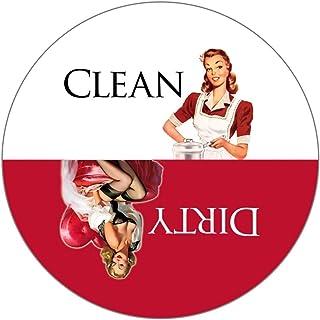 Clean Dirty 洗碗机磁贴结束厨房问题。 可粘在任何表面。 Retro Housewife Theme。 红色和白色,* 美国手工制作。