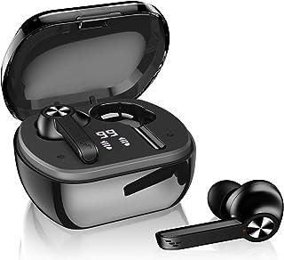 真正的无线耳机,SIXGO 蓝牙 5.1 耳机带降噪麦克风,HiFi 立体声无线耳塞耳机,适用于 iPhone 和 Android (黑色)