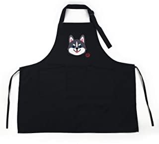 DOGGOFASHION 哈士奇黑色可调节围裙 2 个口袋家庭厨房花园餐厅咖啡厅酒吧面包店烧烤烹饪厨师