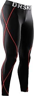 DRSKIN 男式压缩裤运动紧身裤打底裤,跑步锻炼,凉爽干燥瑜伽健身房*衣 黑色(红色线) X大码