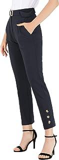Allegra K 女式腰带高腰拉链直筒纯色纽扣装饰裤