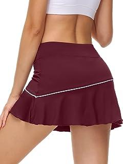 UrKeuf 女式运动网球口袋裙轻质高尔夫跑步锻炼短裤带运动短裤