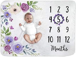Paishanas Baby 月刊里程碑毯   女婴   超柔软蓬松羊毛   花卉图案   月刊毯   新生儿照片道具   摄影背景幕 152.4 厘米 x 101.6 厘米