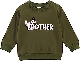 幼儿婴儿女孩男孩字母印花毛衣长袖套头运动衫上衣秋冬户外服装(ARY Green Brother, 4-5 岁)