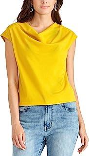 Rachel Roy 女式黄色无袖堆领上衣 S 码