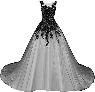 Kivary 哥特式灰色薄纱长款黑色蕾丝透明船形舞会婚纱
